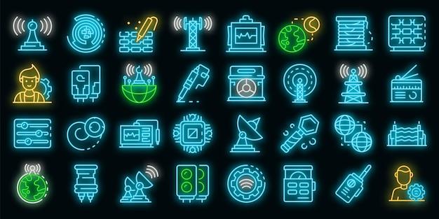Zestaw ikon inżyniera radia. zarys zestaw ikon wektorowych inżyniera radiowego w kolorze neonowym na czarno