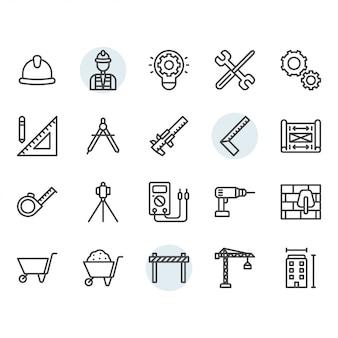 Zestaw ikon inżynierii cienka linia