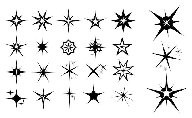 Zestaw ikon iskry lub kształtu gwiazdy lub koncepcji czarnego połysku gwiazdy