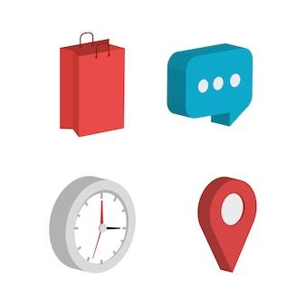 Zestaw ikon izometryczne biznesu