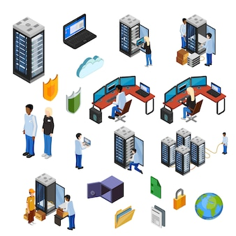 Zestaw ikon izometryczne izolowane centrum danych