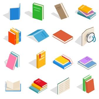 Zestaw ikon izometryczne książki. uniwersalne ikony książek do wykorzystania w sieci i mobilnym interfejsie użytkownika, zestaw podstawowych elementów książki na białym tle ilustracji wektorowych