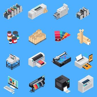 Zestaw ikon izometryczne produkcji sprzętu drukarskiego z technologią cyfrową i urządzeń offsetowych na białym tle