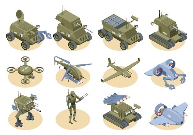 Zestaw ikon izometryczne robotów wojskowych podwodnych robotów saperów drony strzelające czołgi i ciężarówki na białym tle