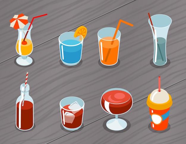 Zestaw ikon izometryczny 3d napojów. koktajl alkoholowy, płyn i sok, świeży tropikalny