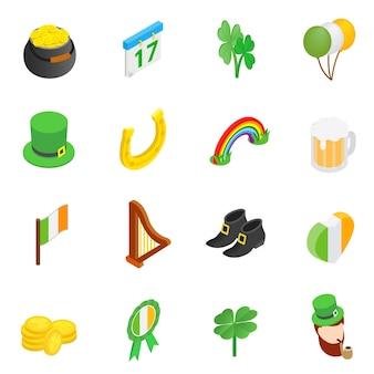 Zestaw ikon izometryczny 3d st patrick day