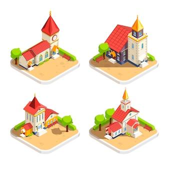 Zestaw ikon izometryczny 4 kościoła