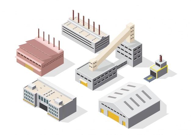 Zestaw ikon izometryczny budynek przemysłowy lub fabryczny
