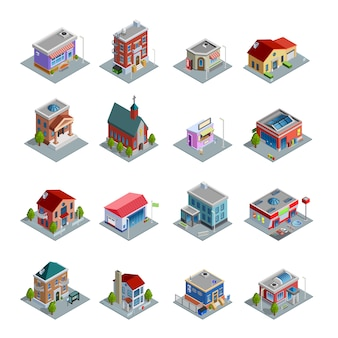 Zestaw ikon izometryczny budynku