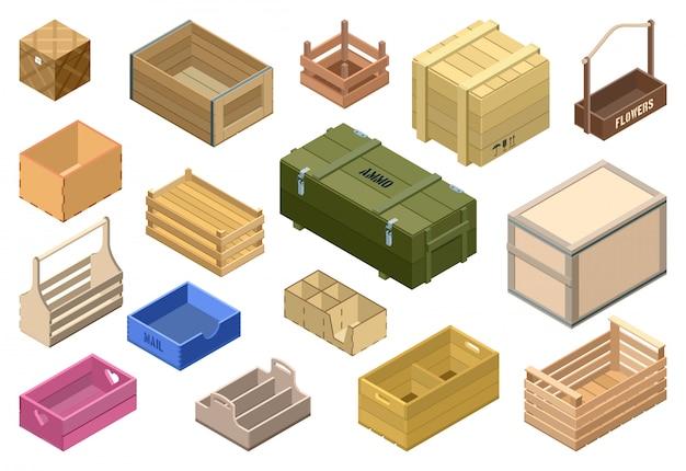Zestaw ikon izometryczny drewniane pudełko. na białym tle izometryczny zestaw ikona skrzyni i pojemnika. ilustracja drewniane pudełko na białym tle.