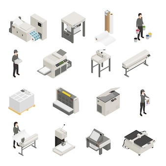 Zestaw ikon izometryczny drukarni