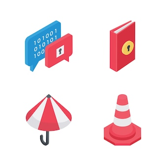 Zestaw ikon izometryczny elementów bezpieczeństwa