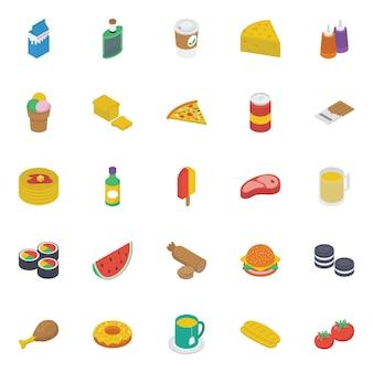 Zestaw ikon izometryczny fast food