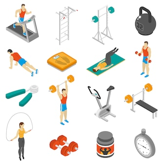 Zestaw ikon izometryczny fitness