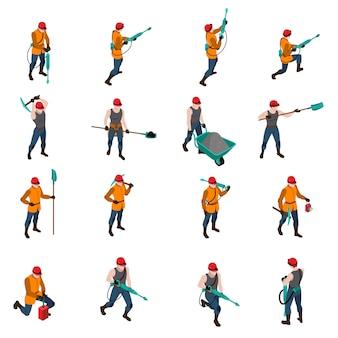 Zestaw ikon izometryczny górnika ludzi