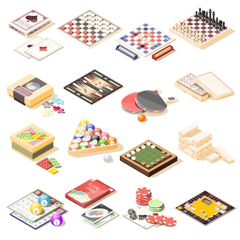 Zestaw ikon izometryczny gry planszowe