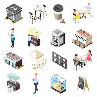 Zestaw ikon izometryczny kawy ulicy