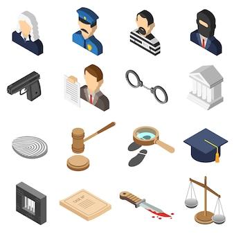 Zestaw ikon izometryczny kolor sprawiedliwości
