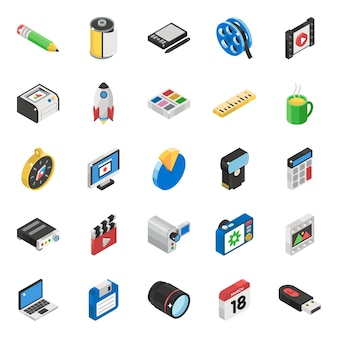 Zestaw ikon izometryczny komunikacji