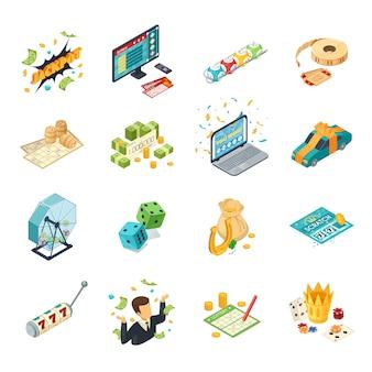 Zestaw ikon izometryczny loterii z symbolami jackpot na białym tle ilustracji wektorowych