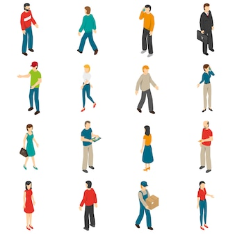 Zestaw ikon izometryczny ludzi