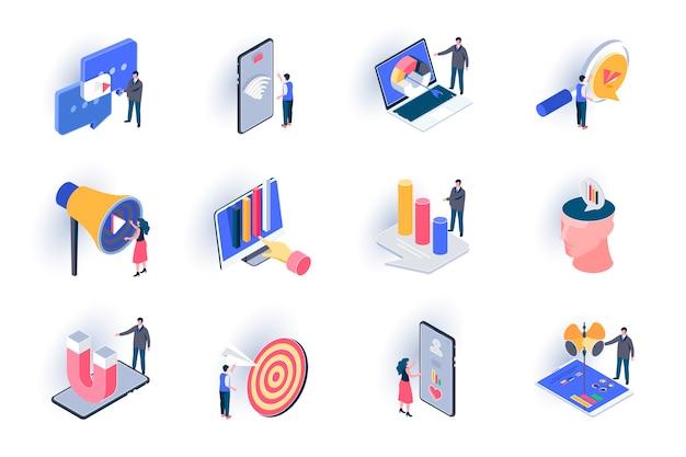 Zestaw ikon izometryczny marketingu smm. obserwacja trendów, analiza i optymalizacja, targetowanie płaskich ilustracji reklamowych. marketing w mediach społecznościowych piktogramy izometrii 3d z postaciami ludzi.