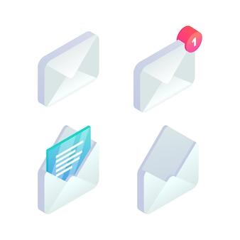 Zestaw ikon izometryczny mobilnej poczty e-mail. 3d powiadomienie o nowej wiadomości przychodzącej, otwarta wiadomość, znak e-mail.