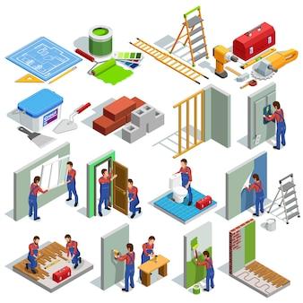 Zestaw ikon izometryczny naprawy domu