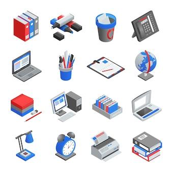 Zestaw ikon izometryczny narzędzi biurowych