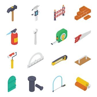 Zestaw ikon izometryczny narzędzi budowlanych