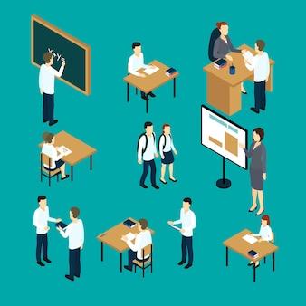 Zestaw ikon izometryczny nauczycieli i uczniów