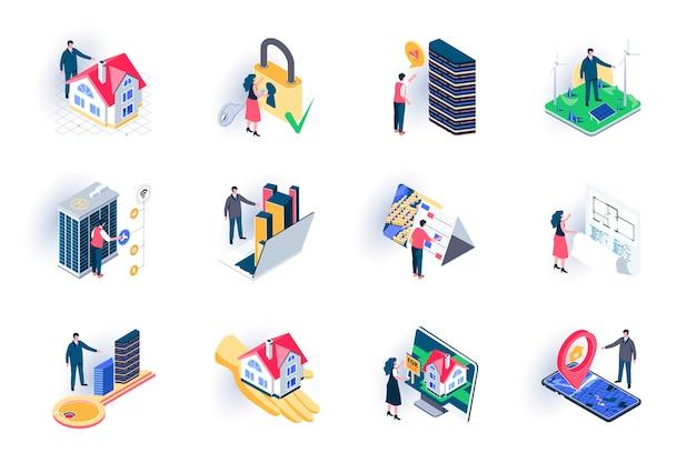Zestaw ikon izometryczny nieruchomości. sprzedaż budynków, kredyt hipoteczny i wynajem, architektura, inżynieria i konstrukcja płaska ilustracja. agencja nieruchomości 3d izometryczne piktogramy z postaciami ludzi