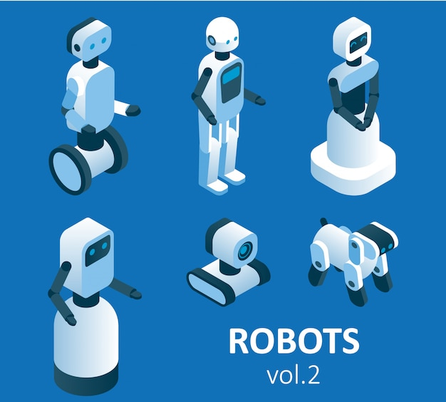 Zestaw ikon izometryczny nowoczesnej robotyki