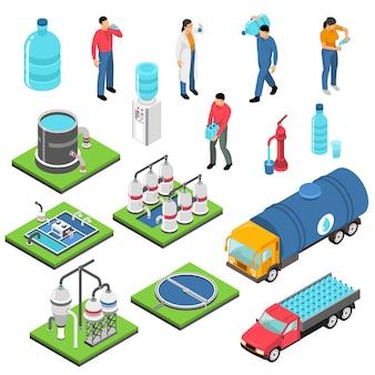 Zestaw ikon izometryczny oczyszczania wody