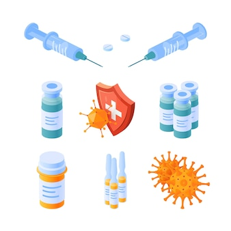 Zestaw ikon izometryczny odporności.