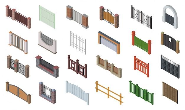 Zestaw ikon izometryczny ogrodzenia bramy. na białym tle izometryczny zestaw drewniane bramy. ilustracja płotowa brama na białym tle.
