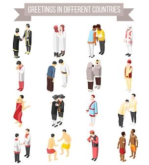 Zestaw ikon izometryczny ozdobny ilustrowany sposób i gest pozdrowienia ludzi w różnych krajach na białym tle