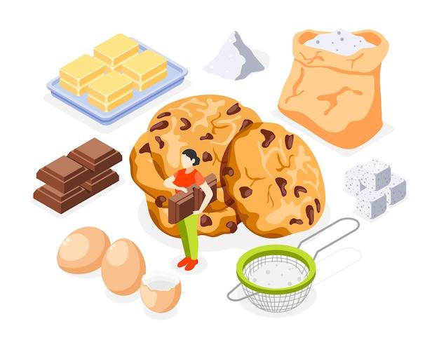 Zestaw ikon izometryczny piekarni z mąki, cukru, masła, jajek, czekolady i przygotowanych ciasteczek na białym tle