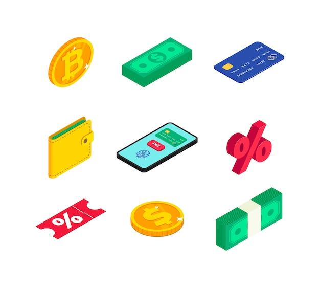 Zestaw ikon izometryczny pieniądze. 3d złota moneta z dolara