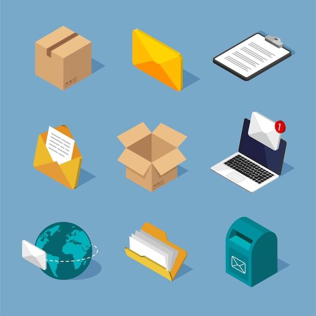 Zestaw ikon izometryczny poczty. różne symbole pocztowe. izometryczna skrzynka pocztowa, koperta na e-mail, listy.