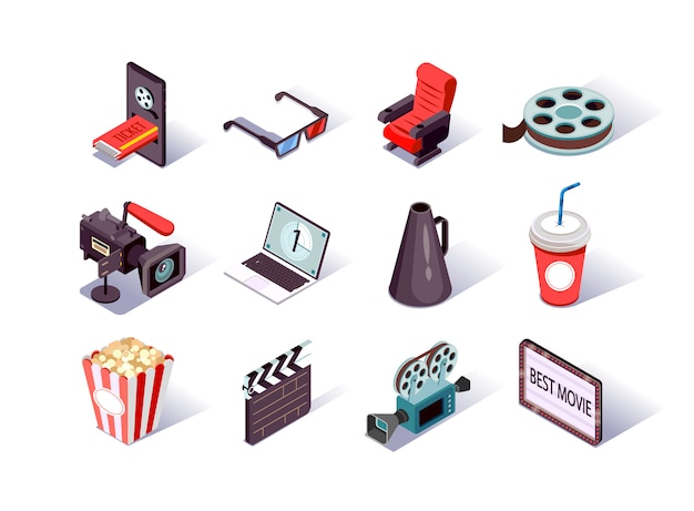 Zestaw ikon izometryczny produkcji filmu.