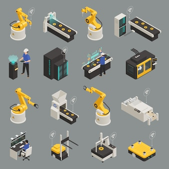 Zestaw ikon izometryczny przemysłu inteligentnego