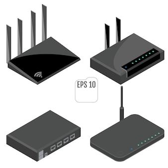Zestaw ikon izometryczny routera. odosobniony