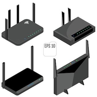 Zestaw Ikon Izometryczny Routera. Zestaw Ikon Routera Wifi. Premium Wektorów