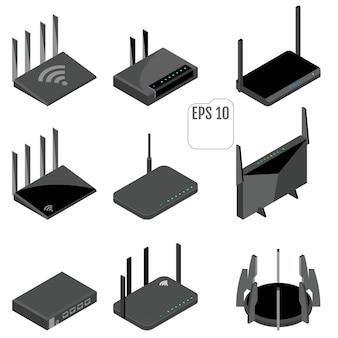 Zestaw ikon izometryczny routera.