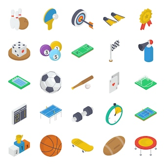 Zestaw ikon izometryczny sprzętu sportowego