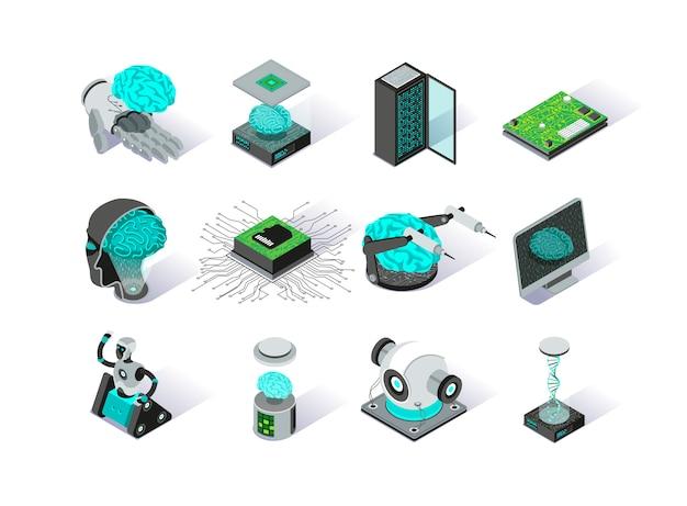 Zestaw ikon izometryczny sztucznej inteligencji.
