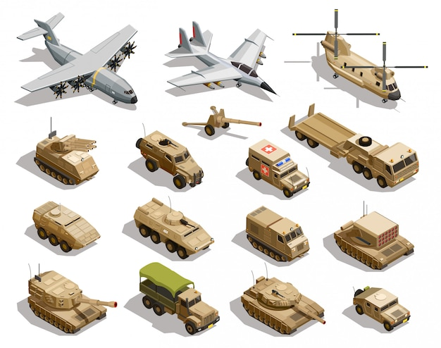 Zestaw ikon izometryczny transportu wojskowego