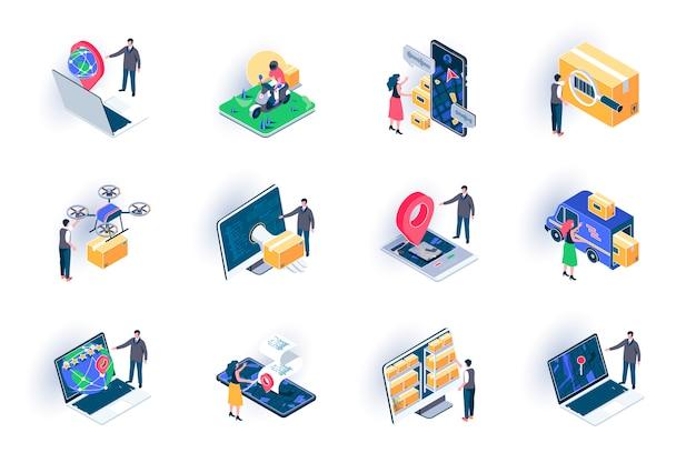 Zestaw ikon izometryczny usługi dostawy. globalna logistyka, magazynowanie i dystrybucja płaska ilustracja. przesyłka kurierska, śledzenie trasy online piktogramy izometrii 3d z postaciami osób.