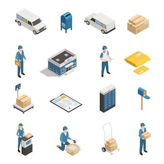 Zestaw ikon izometryczny usługi pocztowe